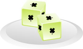 Lucky Dice with Shamrocks Royalty Free Stock Photography