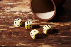 Lucky dice on table Stock Image