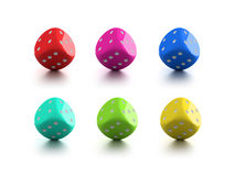 Lucky dices. Set of bright plastic dices which (for sure) bring luck to its owner stock illustration