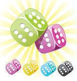 Lucky dices many color vector set Stock Images