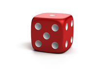 Lucky die. Three-dimensional red die isolated on white with shadow royalty free illustration