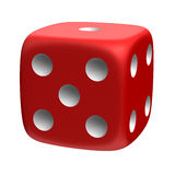 Lucky die. Three-dimensional red die isolated on white stock illustration