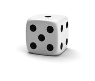 Lucky die. Three-dimensional white die isolated on white with shadow stock illustration