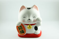 Lucky Doll Cat. Japanese characters means good luck or fortune stock photography