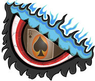 Lucky eye. Abstract illustration of a burning eye with a reflection of ace of spade card Stock Image