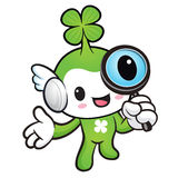Lucky Fairy mascot examine a with a magnifying glass. Nature Cha Royalty Free Stock Photo