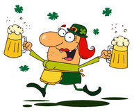 Lucky Female Leprechaun Running Through Clovers. Female Leprechaun Running Through Clovers With Beers vector illustration