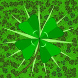 Lucky find. Vector of a lucky four leaf clover highlighted on a field of normal clover and stylized grass Royalty Free Stock Photography