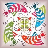 Lucky fish pattern Stock Image