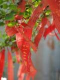 Lucky Flag i kinesisk tempel Guan Yu Temple Lopp i Jingzhou royaltyfri bild