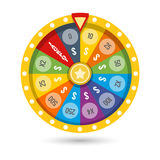 Lucky fortune game wheel vector illustration. Win money jackpot with lucky fortune game colored wheel vector illustration Royalty Free Stock Image