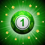 Lucky four leaf clover bingo ball. Bingo Ball with Green Four Leaf Clover Design on a green background with Gold Shamrocks and Stars Stock Photography