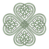 Lucky four leaf clover in the Celtic style. Isolated on white vector illustration Stock Illustration