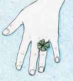 Lucky four leaf clover ring royalty free illustration
