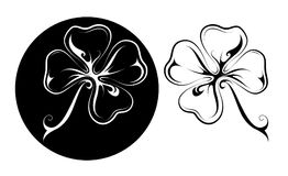 Lucky four leaf clover tattoo in two variations. Four leaf clover tattoo shape Stock Photos