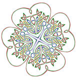 Lucky four leaf shamrock. Drawn is celtic style with many complicatedly interlacing wires, each having different color. The cross is in the center. Isolated on Royalty Free Stock Images