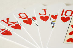 Lucky game. Symbolic straight flush to win in life Stock Photography