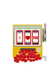Lucky in game , lucky in love vector illustration. Vector illustration of slot machine with love jackpot Royalty Free Illustration