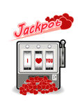 Lucky in game , lucky in love vector  illustration. Vector  illustration of slot machine with love jackpot Royalty Free Stock Photos