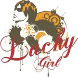 Lucky girl. Music and dance craze that reflect women's basic graphic royalty free illustration