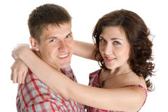 Lucky girl and a guy hug Royalty Free Stock Photo