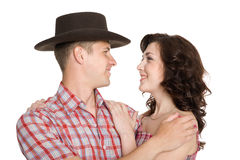 Lucky girl and a guy in stetson Stock Images