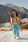Lucky girl snowboarder Stock Image