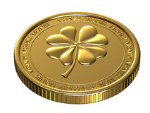 Lucky gold coin. Royalty Free Stock Photo