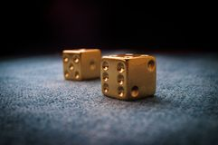 Lucky Golden Dice arkivbild