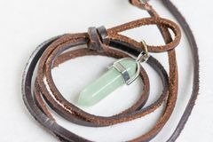 Lucky green aventurine semiprecious stones necklace with leather cord Royalty Free Stock Photography