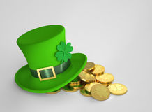 Lucky green hat and golden coins, with clipping path Stock Image