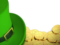 Lucky green hat with golden coins for Saint Patricks Day Royalty Free Stock Image
