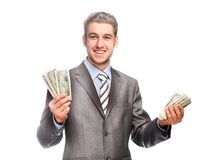 Lucky grey-haired man with money Royalty Free Stock Photography