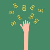 Lucky hand with fly money Royalty Free Stock Images