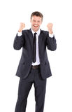 Lucky handsome business man celebrating. Winner  laughing man Stock Image