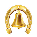 Lucky horseshoe and golden bell Stock Image