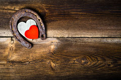 Lucky Horseshoe And Hearts Fotografia de Stock Royalty Free