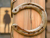 Lucky horseshoes in front of western bar Stock Images