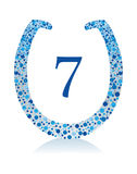 Lucky Horshoe Number 7. Symbols of luck with decorative features Royalty Free Stock Photos