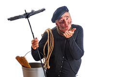 Lucky kiss of the chimney sweep. Nice chimney sweep offering a kiss for good fortune Stock Images