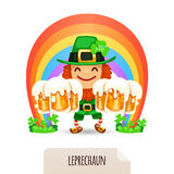 Lucky Leprechaun with a beer in front of a rainbow Stock Photos