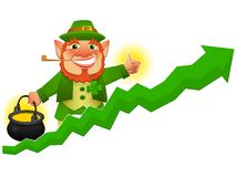 Lucky leprechaun with business prosperity arrow Royalty Free Stock Photo