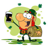 Lucky Leprechaun And Carrying A Keg Royalty Free Stock Image