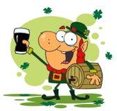 Lucky Leprechaun And Carrying A Keg. Lucky Leprechaun Toasting With A Glass And Carrying A Keg,background stock illustration