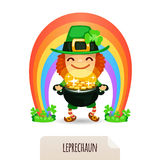 Lucky Leprechaun with coins in front of a rainbow Royalty Free Stock Photos