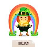 Lucky Leprechaun con las monedas delante de un arco iris Fotos de archivo libres de regalías