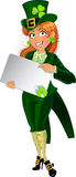 Lucky Leprechaun girl with placard for text royalty free stock photography