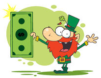 Lucky Leprechaun Holding A Dollar Bill Stock Photo