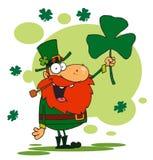 Lucky Leprechaun Holding Up A Shamrock. Cartoon Lucky Leprechaun Holding Up A Shamrock royalty free illustration