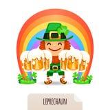 Lucky Leprechaun met een bier voor een regenboog Stock Foto's